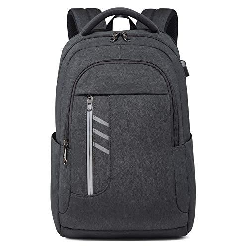 DONZ Herren Damen Laptop Rucksack Jungen Schulrucksack 15.6 Zoll mit USB-Anschluss, Casual Business Daypack Wasserdichte Reiserucksack für College Schule Reisen Arbeit Camping,Darkgray