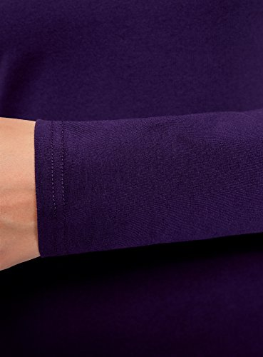 oodji Ultra Damen Tagless Enges Jersey-Kleid Violett (8800N)