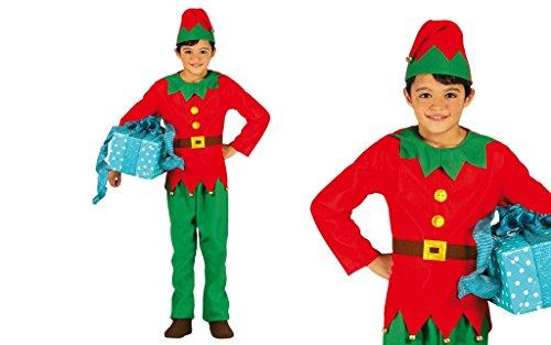 Guirma Kinder Kostüm Elfo, Rot und Grün, 7-9 Jahre, ()