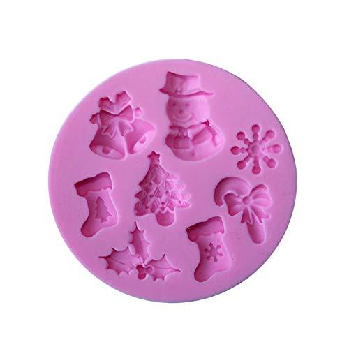 rm, Premium Backform, Weihnachten, Schneeflocke, Schneemann, Baum, Silikon, Kuchen, Seife, Fondant, Backwerkzeug - Pink ()