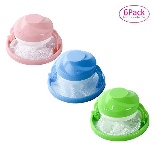 YOFASEN 6 Stück Wäschesack Filter - Wiederverwendbare Waschmaschine Schwimmende Lint Mesh Bag tragbare Waschmaschine Lint Haarfilter Catcher Net Pouch, Rosa/Blau/Grün(Paket B) -