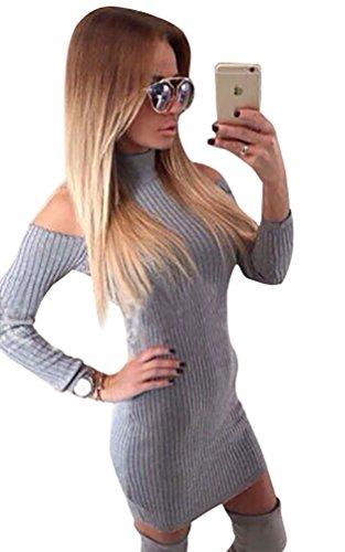 WanYang Damen Langärmeliges Taille Hochkragen Schlanke Geschnittenes Kleid Trägerloses Kleid Langärmelig Grau