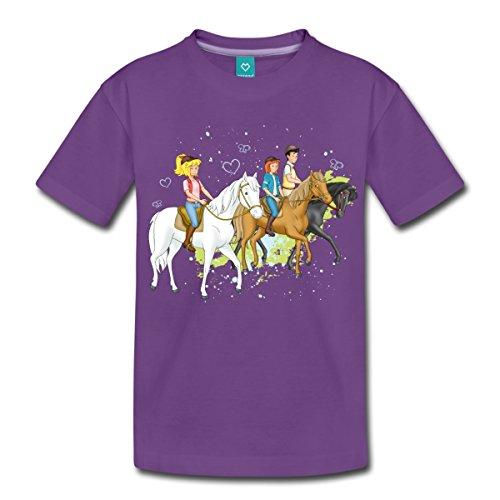 Spreadshirt Bibi und Tina Ausritt mit Alexander Falkenstein Kinder Premium T-Shirt, 98/104 (2 Jahre), Lila (Einheitliche T-shirt Lila)
