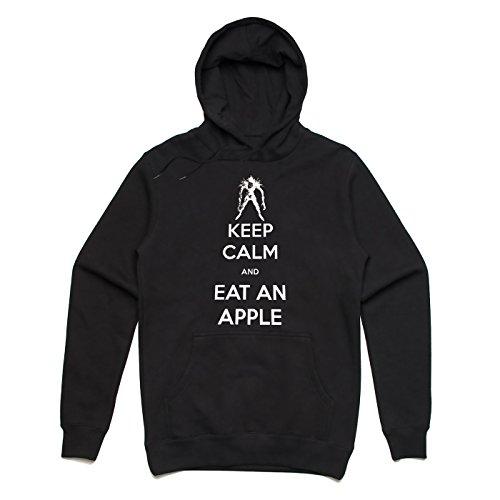 Keep calm and eat an apple Unisex Hoodie Schwarz