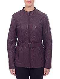 Klass Womens Plum Fitted Faux Leather Jacket