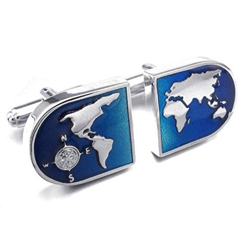 Silber & Blau Metallic Welt Manschettenknöpfe und Geschenkbox, Quadratisch, onesize
