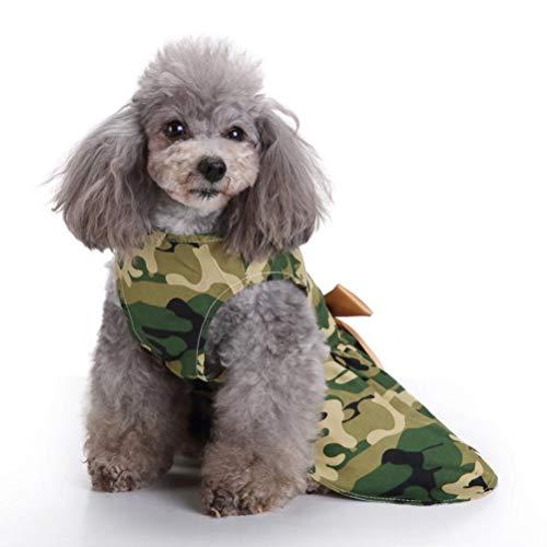 Koojawind Mode-Armee-GrüN-Tarnung-Haustier-Hundekleid, SchöNes Hundekleid Mit Eleganter Band-Kleidung, Reizend Prinzessin Bubble Skirt, Schauend Reizend Nett