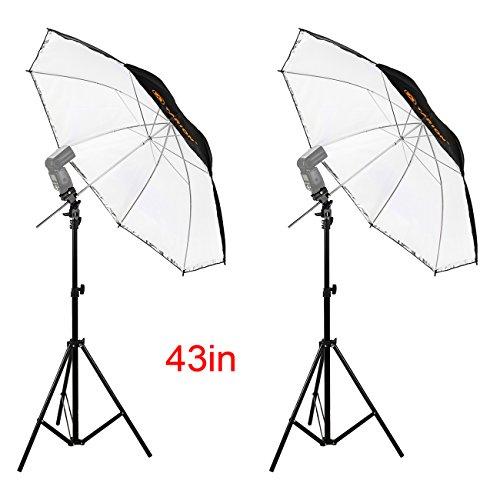 TARION kit di illuminazione: 2 a 1 (110 cm) ombrello riflettore Diffusore + Flash supporto + Treppiede allungabile 810-2000mm per Foto Video Studio