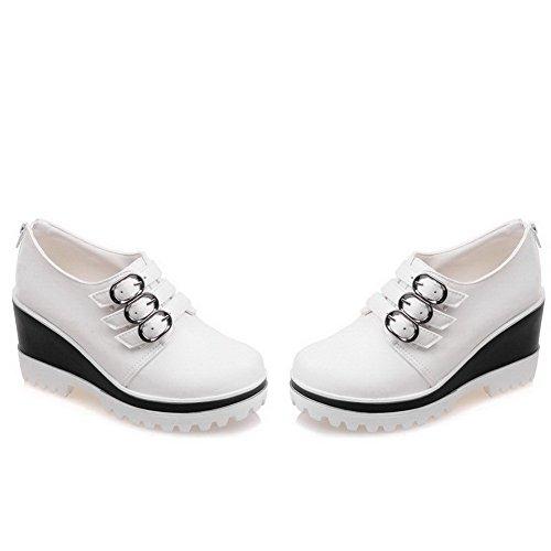 AllhqFashion Femme Pu Cuir à Talon Haut Rond Couleur Unie Zip Chaussures Légeres Blanc