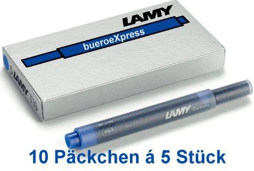 Preisvergleich Produktbild 50 Stück Lamy Tintenpatronen T10 blau (10x5) Patronen für Füller
