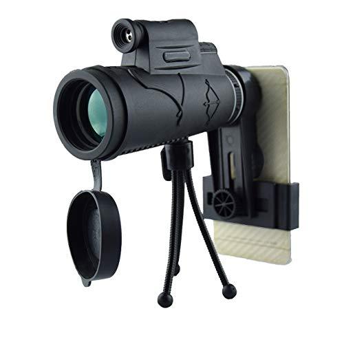 HAO Fotografía HD Prisma monocular telescopio con trípode Smartphone Montaje para observación de Aves Paisaje Tiro Juegos de Pelota conciertos Ver Adulto espía mochilero Caza Silvestre y etc-12x50