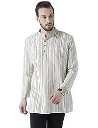 Vivids India Men's Cotton Linen White & Grey Stripes Kurta - G-211