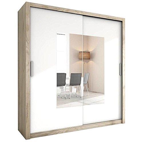 JUSTyou Alfa Schwebetürenschrank Kleiderschrank Garderobenschrank mit Spiegel (HxBxT): 200x180x62 cm Eiche I | Weiß Matt