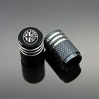ZYFAOZHOU Alfa Romeo Cars Tire Valve Cap Carbon Titanium Black Style,Dustproof Caps,Valve Caps Prevent Corrosion Air Leakproof,Protection Your Valve Stem 4 Pcs/Set Black