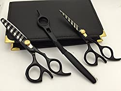 5.5 Professional Barber Razor Edge color Coated Hair Cutting and Texturizing Shears Scissors Set+case