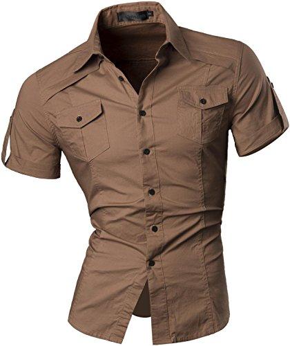jeansian Herren Freizeit Hemden Shirt Tops Mode Kurzarm Men's Casual Dress Slim Fit ()