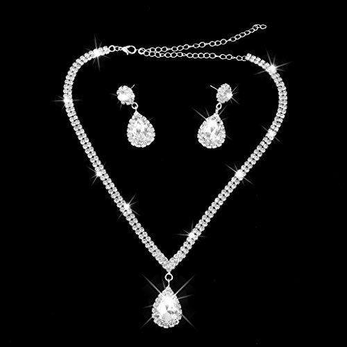Imported Teardrop Rhinestone Jewelry Necklace Earring Set Wedding Bridal Party  available at amazon for Rs.475
