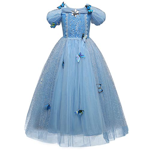 Kinder Girl Colonial Kostüm - RBHSG 4 7 8 9 10 Years ELSA Dress Children Role-Play Costume Princess Cinderella Girls Ball Gown Party Christmas Cosplay Vestido Blue Sky Blue 9