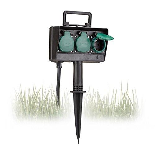 Relaxdays Gartensteckdose 3-fach mit Erdspieß IP44 spritzwassergeschützt, 10018974
