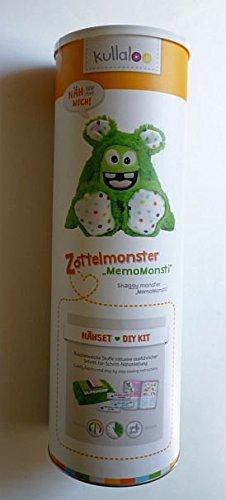 kullaloo Näh-Set Selber Machen: Zottel Monster MemoMonsti inkl. Schnittmuster in grün und in schicker Dose (DE/EN) Materialset, Stoffpaket, Minky, 10,5 x 10,5 x 31 cm