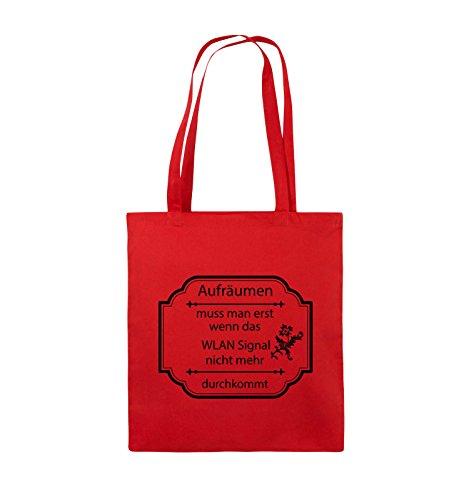 Comedy Bags - Aufräumen muss man erst, wenn - WLAN SIGNAL - Jutebeutel - lange Henkel - 38x42cm - Farbe: Schwarz / Silber Rot / Schwarz