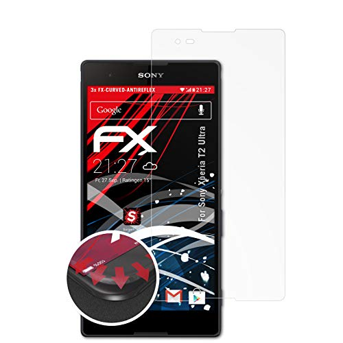 atFolix Schutzfolie passend für Sony Xperia T2 Ultra Folie, entspiegelnde & Flexible FX Bildschirmschutzfolie (3X)