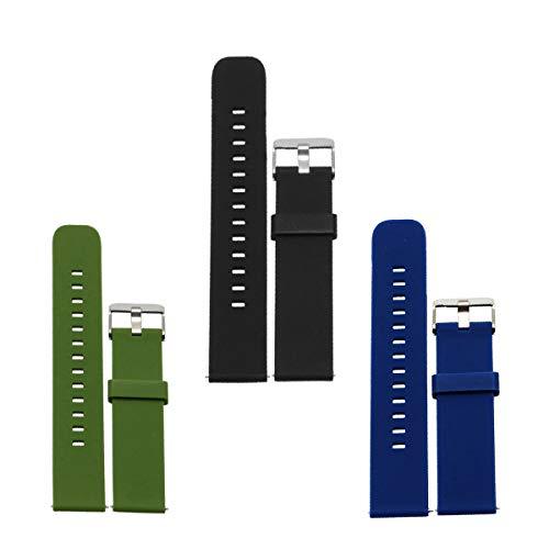 D&L 18 20 22 mm Soft Silikon Armband, Uhrenarmband, Weiche Gummi Uhr Band Ersatzarmband für Herren/Damen Uhren. Schwarz, Rot, Blau, Grün, Grau, Weiß. 1 Stück / 3 Stück (Soft-uhr)