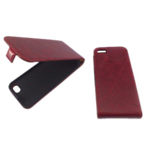 handy-point Toscana Leder Klapptasche für Apple iPhone 4 blau Rot - Hülle für iPhone 4G / 4S