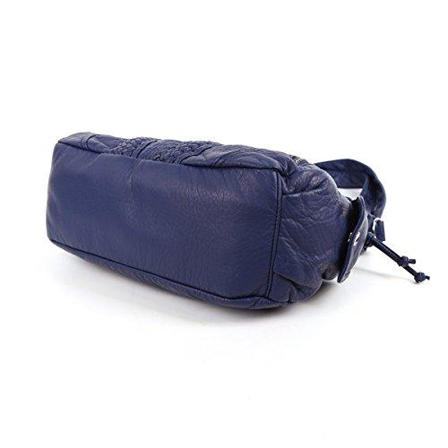 Angelkiss 2 Top Cerniere di chiusura tasche multiple borse di cuoio borse borse a tracolla Lavato 1555 Blu