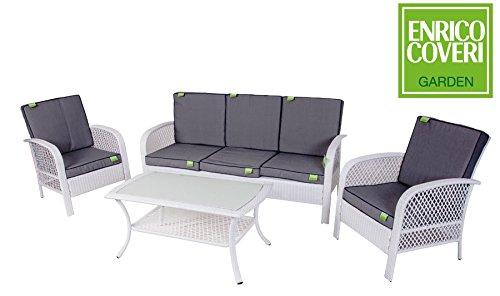 Enrico coveri salotto completo bianco per arredamento giardino, set sofà composto da tavolo rettangolare + 2 poltrone + divano 3 posti in acciaio e polyrattan per arredamento esterno