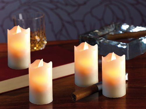 Brit TA conjunto de 4 LED-Cera verdadera vela con móvil llama, 45 x 75 mm