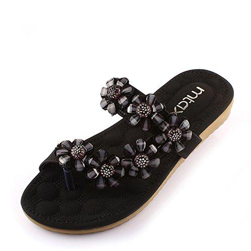 Pente avec sandales à talons hauts à bascule --- Women's Sandals Printemps Eté Club Chaussures PU Party & Robe de soirée Casual Flat Heel strass Fleur Noir Blanc --- Herringbone fashion sweet Sandals Noir
