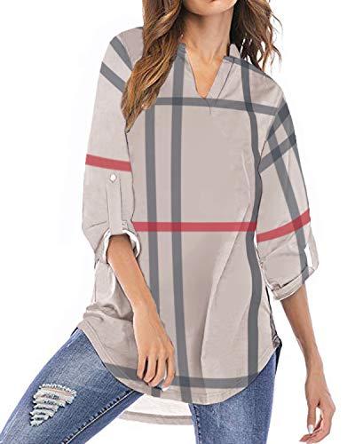 Grün-karo-hose (YOINS Bluse Damen Oberteile Elegant Sexy Tops Langarmshirt Gestreift Kariert V-Ausschnitt Hemd Khaki EU40-42(Kleiner als Reguläre Größe))