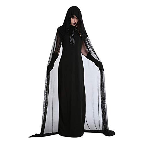 Ankoy Halloween Kleid für Frauen Vampire Zombie Hoddies Spitze Horror Vestido Phantasie Scary Braut Schwarz Kleid Up Hexe Cosplay - König Kleid Up Kostüm