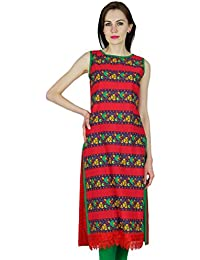 8941978d0128b0 Bimba Women Cotton Custom Kurta Straight Kurti Sleeveless Red Top Indian  Formal Ethnic Blouse