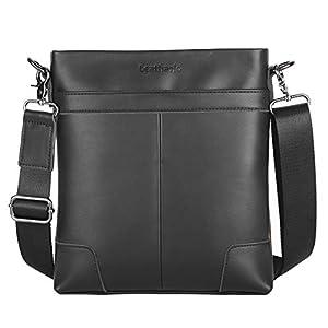 415XqaLayxL. SS300  - Leathario Bolso Bandolera Hombre de Cuero Vintage Pequeño Bolsa Hombro Piel Escolar Viaje para iPad 9.7 Pulgadas (Marrón y Negro)
