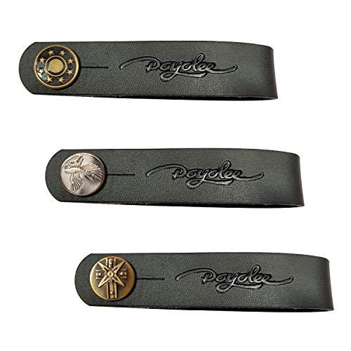 Polyee Gitarrengurt aus Leder mit Knopfleiste Strap button Black Leather / 3PAC -