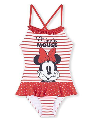 Bañador de 1 Pieza para niña Minnie a Rayas Rojas y Marinas de 3 a 8 años Rayé Blanc/Rouge 3 años...