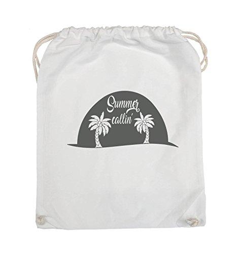 Borse Comiche - Estate Callin - Palm - Turnbeutel - 37x46cm - Colore: Nero / Argento Bianco / Grigio