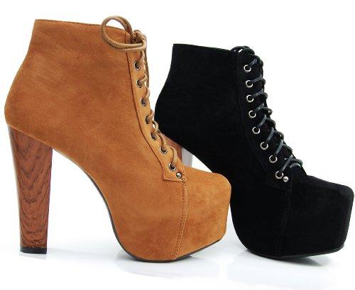 Kayla Shoes© Plateau Stiefeletten mit Absatz in Holz Optik Schwarz