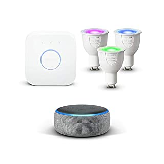 Echo Dot (3rd Gen), Heather Grey Fabric + Philips Hue White and Colour Ambiance LED GU10 Starter Kit (B07KFWH6TM) | Amazon price tracker / tracking, Amazon price history charts, Amazon price watches, Amazon price drop alerts