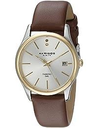 Akribos XXIV Reloj de cuarzo para mujer con plata esfera analógica pantalla y correa de piel color marrón ak879br