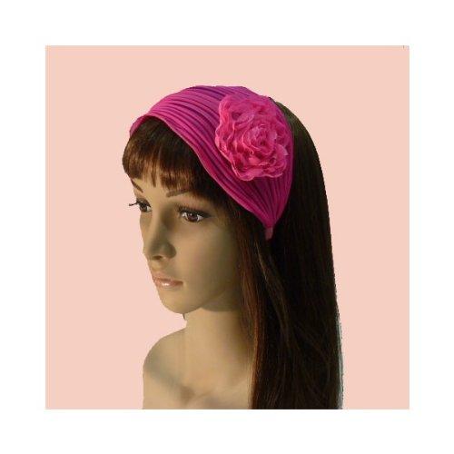 rougecaramel - Serre tête/headband/ large plissé façon bandeau - fuchsia fluo