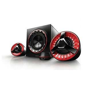 Philips SPA7380/12 2.1 Lautsprecher Gaming-System (60 Watt RMS, 2 Satelliten + Subwoofer, Dynamic Bass, AUX-In, Kopfhöreranschluss, SPD) / schwarz/rot