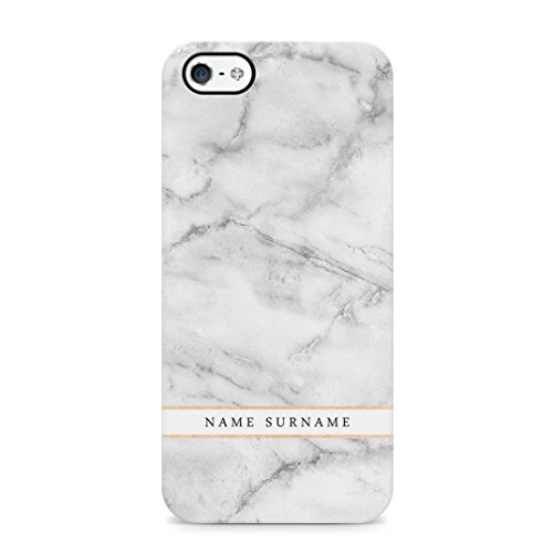 Personalised Customizable First And Last Name Initial Text Custom White Marble Protective Hard Plastic Case Cover For iPhone 5 / iPhone 5s / iPhone SE Carcasa