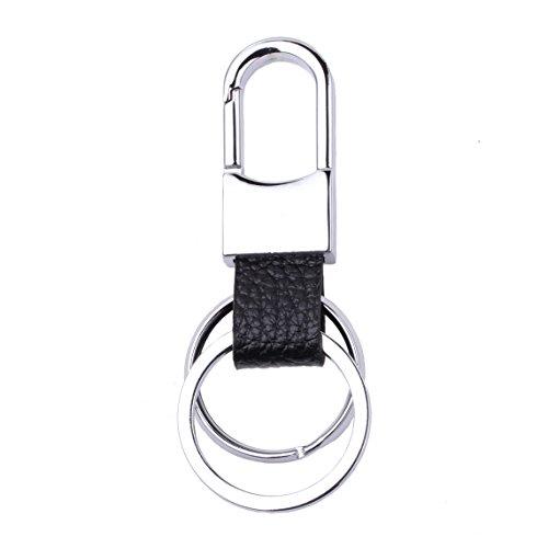 ISHOW Mode Créatif Noir Cuir Corde Deux Classique Placage Zinc Alliage Argent Couleur Porte-clés