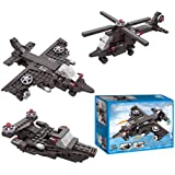 Webby Creator 3 in 1 Airplane Helicopter Army Boat Blocks Toy (Multi-Color, 177 Pieces)