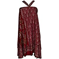 Mogul Interior Womens Magic Wrap Skirt Reversible Two Layer Recycled Silk Boho Beach Dress