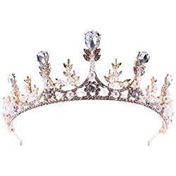 Frcolor Corona de la boda de la corona de la reina de cristal tiara nupcial perlas tocados sombreros para fiesta de desfile