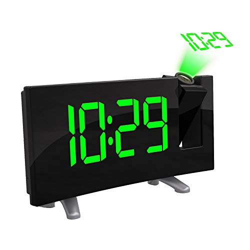 "Projektion Decke Wanduhr Digitalprojektor Radiowecker FM Radio Clock 7,1""Wide Curved Screen LED Digital Schreibtisch/Regal Uhr (Grüne Anzeige)"